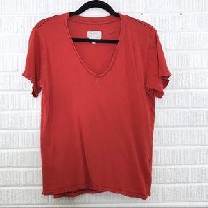 Current/Elliott The V-Neck Tee Tshirt Red Distress